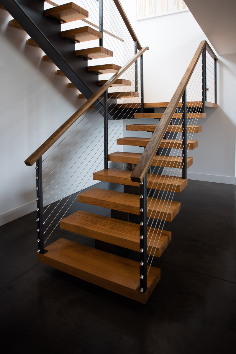 custom steel cable rail stair Lucid Architecture