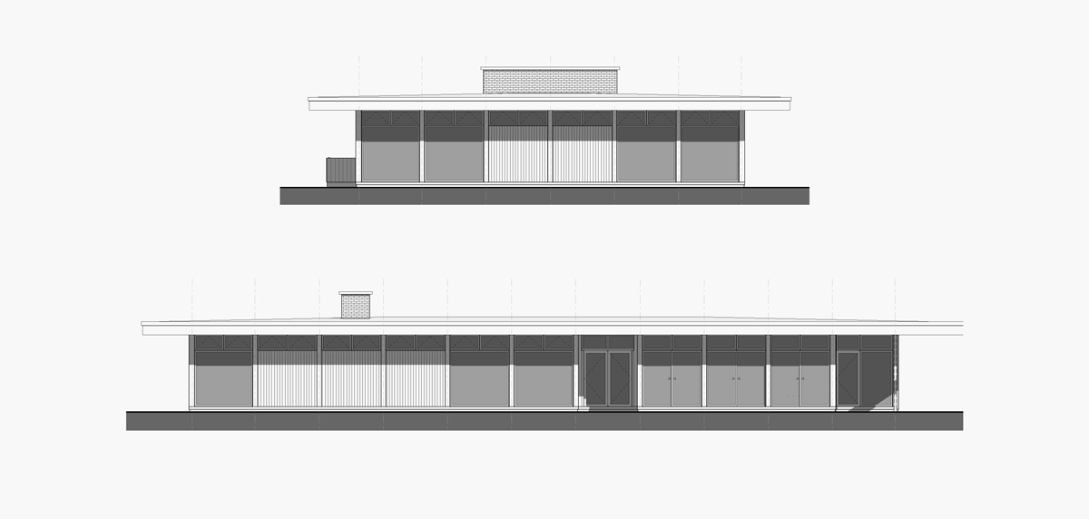 Pleasant Street Residence Home mid century modern design elevation drawing
