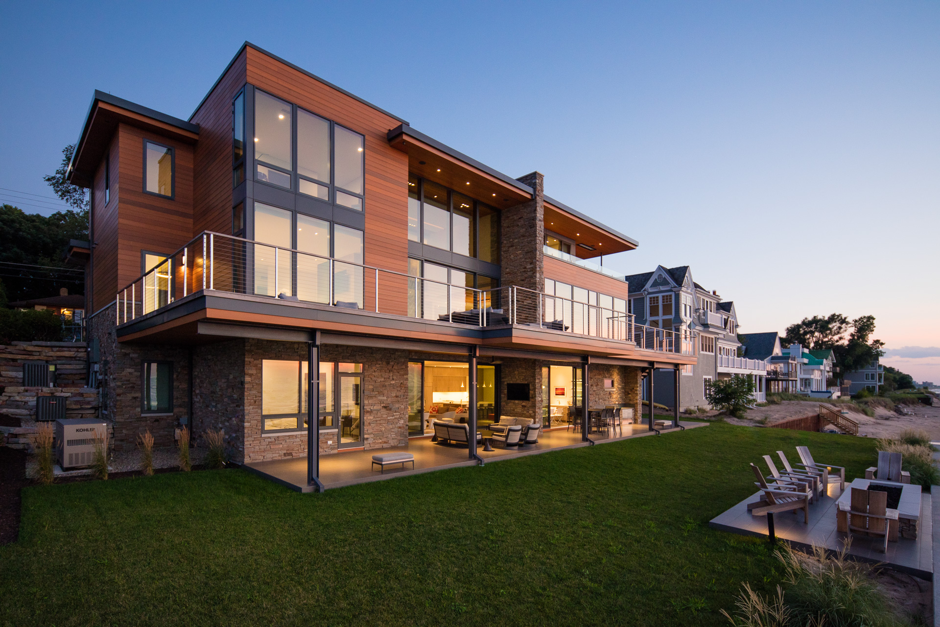 lake michigan home water view architecture beach modern home residential