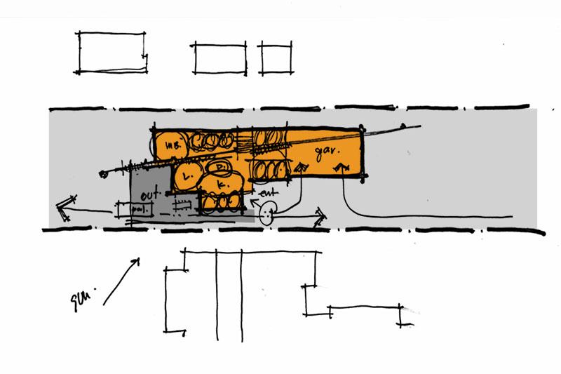 hand sketch plan diagram modern home Lucid Architecture