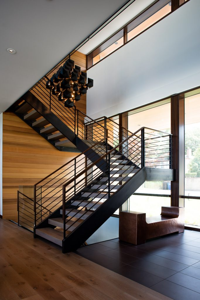 lake michigan home water view architecture beach modern home residential custom steel stair