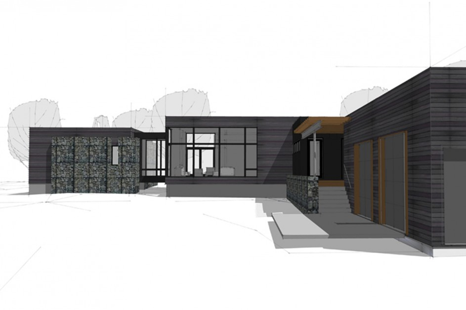 Computer generated modern home design of the Bendemeer residence by Lucid Architecture.