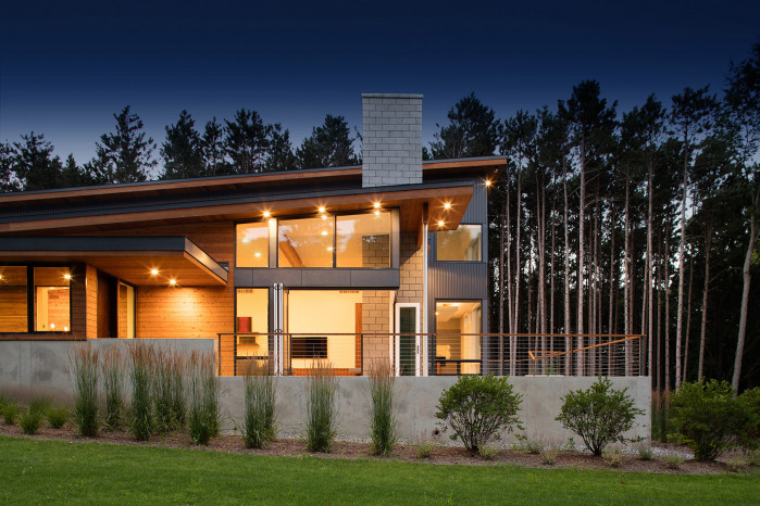 Modern design of the Dogwood residence by Lucid Architecture, Grand Rapids, Michigan.