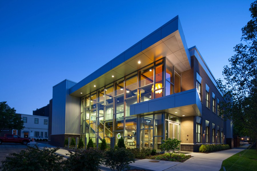 The 128 Columbus building is a modern commercial design by Lucid Architecture.